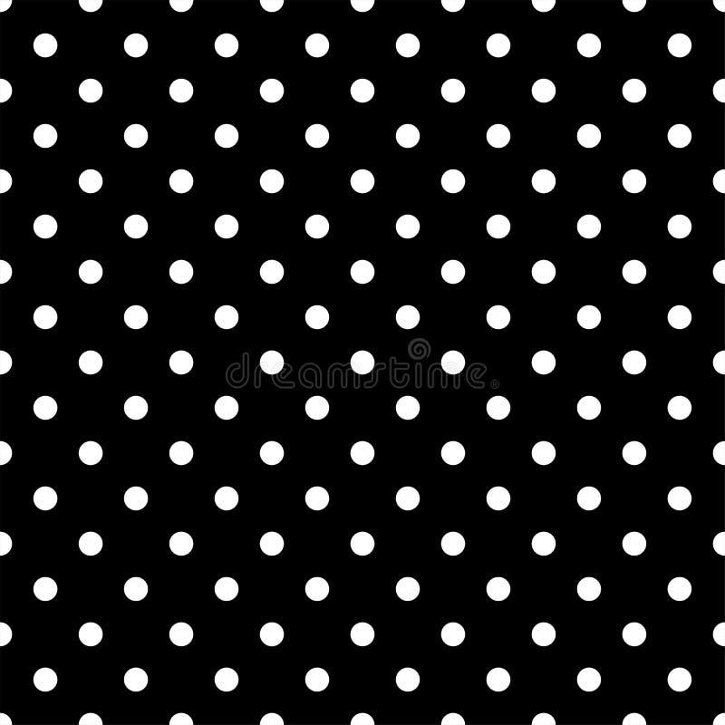 Modello di pois nero senza cuciture sul nero Illustrazione di vettore immagini stock libere da diritti