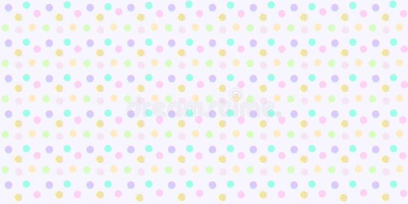 Modello di pois senza cuciture nel colore pastello Pois astratto variopinto per la stampa del tessuto del bambino, carta da parat illustrazione di stock