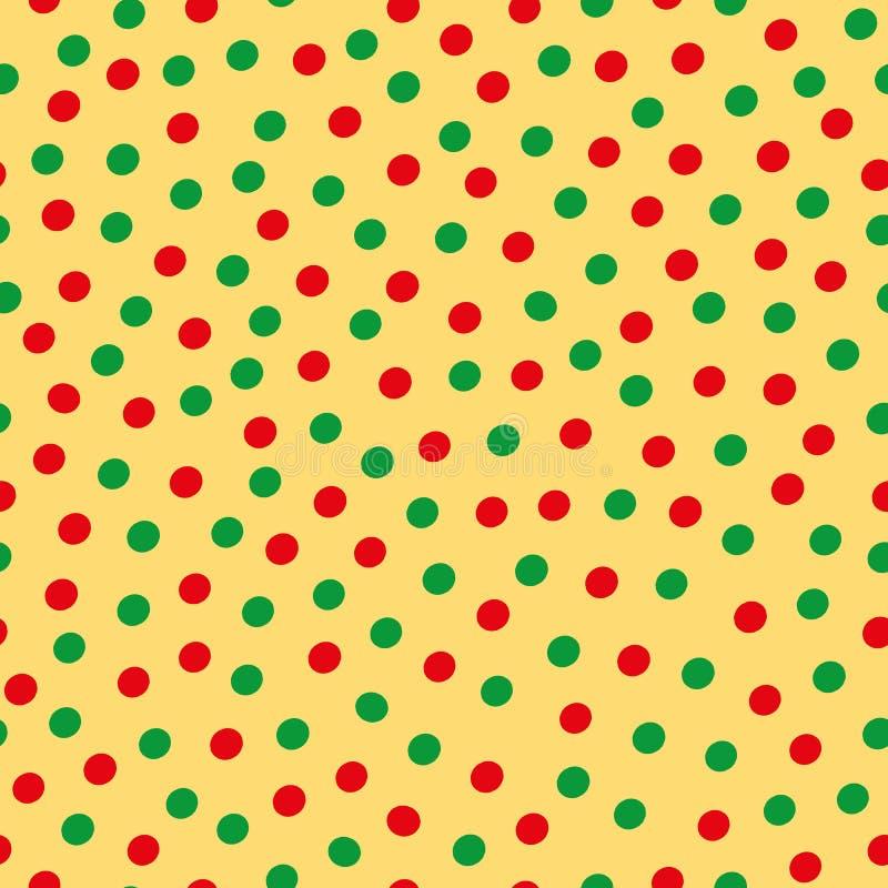 Modello di pois sparso disegnato a mano verde e rosso su fondo giallo Progettazione senza cuciture di vettore con la vibrazione m illustrazione vettoriale