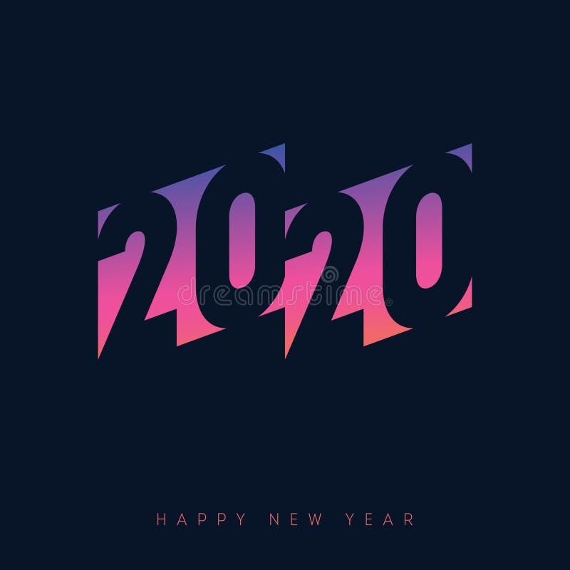 Modello di poster per il 2020 Invito alla festa del nuovo anno con sfumatura neon Copertura del calendario con iscrizione inizial royalty illustrazione gratis