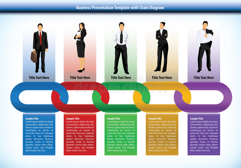 Modello di presentazione di affari con la catena illustrazione di stock