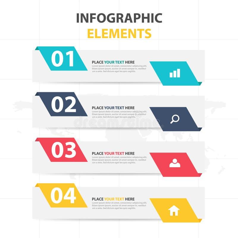 Modello di processo di cronologia di Infographic di affari, desgin variopinto della casella di testo dell'insegna per la presenta illustrazione vettoriale