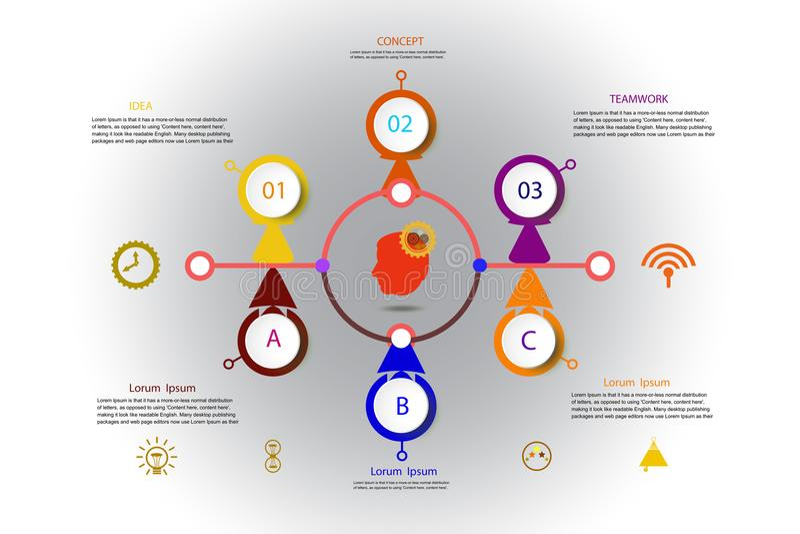 Modello di progettazione di cronologia di infographics di vettore con l'etichetta della carta 3D royalty illustrazione gratis