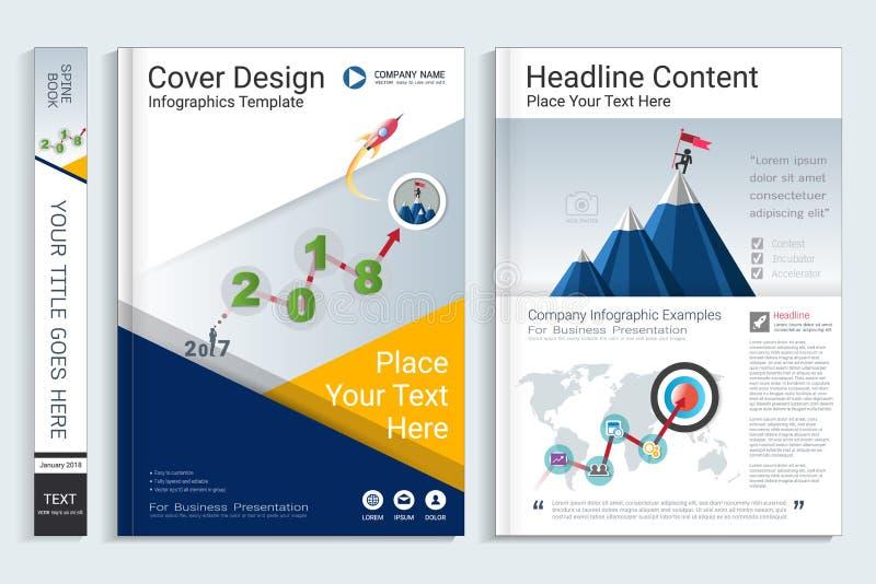 Modello di progettazione del libro della copertura con gli elementi di infographics di presentazione illustrazione vettoriale