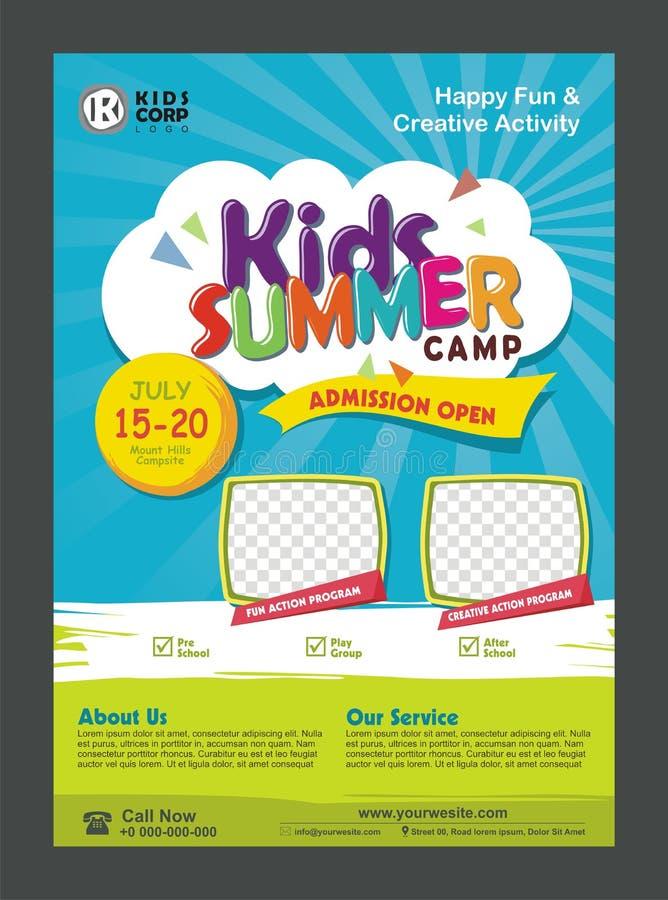Modello di progettazione del manifesto dell'insegna del campeggio estivo dei bambini per i bambini illustrazione vettoriale