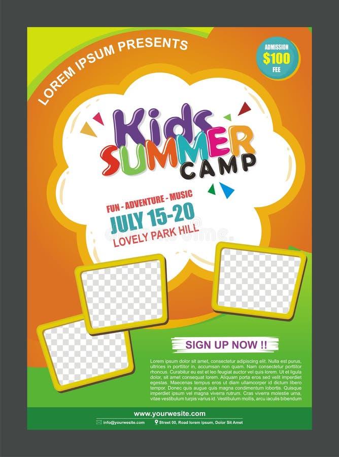Modello di progettazione del manifesto dell'insegna del campeggio estivo dei bambini per i bambini illustrazione di stock