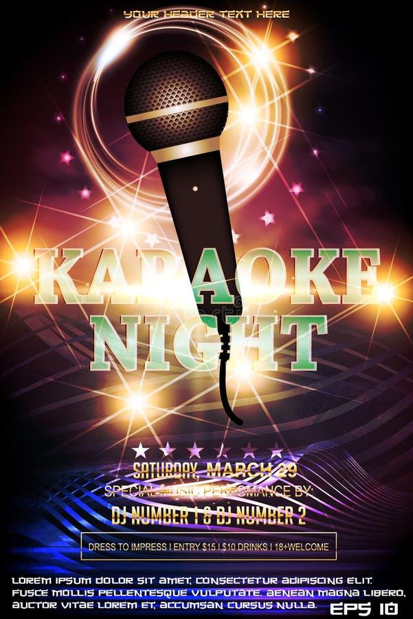Modello di progettazione del manifesto dell'invito del partito di notte di karaoke royalty illustrazione gratis
