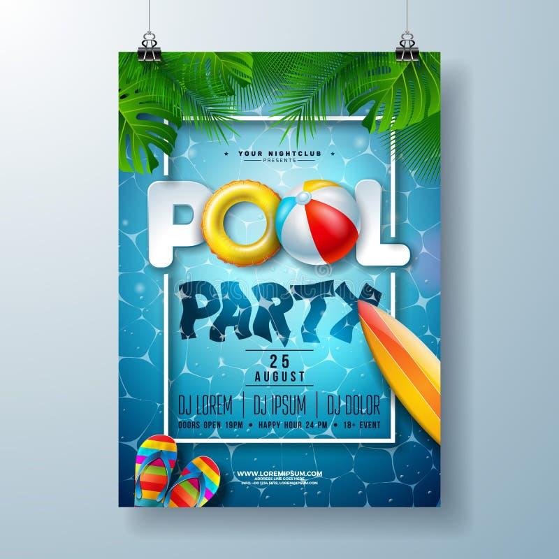 Modello di progettazione del manifesto della festa in piscina di estate con le foglie di palma, acqua, beach ball ed il galleggia royalty illustrazione gratis