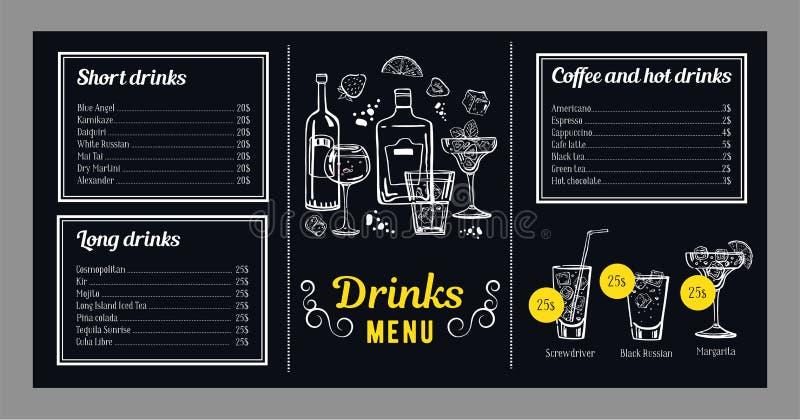 Modello di progettazione del menu del cocktail con la lista delle bevande fredde e calde ed illustrazioni con i cocktail e le bot illustrazione vettoriale