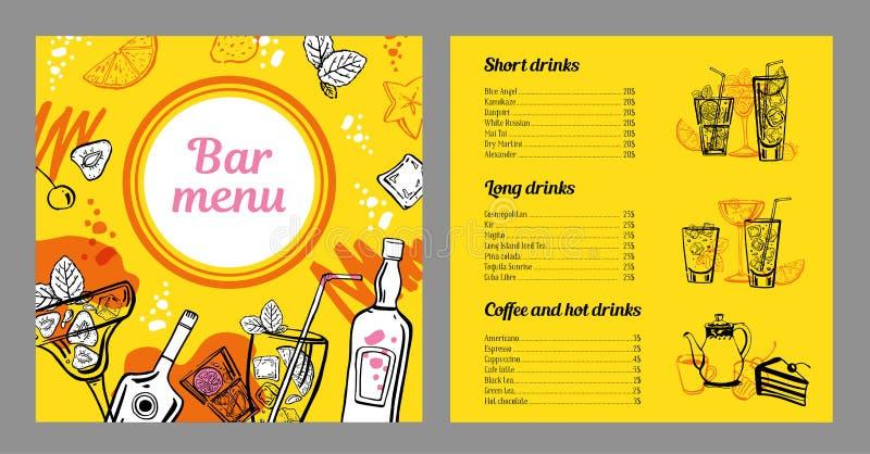 Modello di progettazione del menu del cocktail con la lista delle bevande fredde e calde Illustrazione disegnata a mano dell'anna illustrazione vettoriale