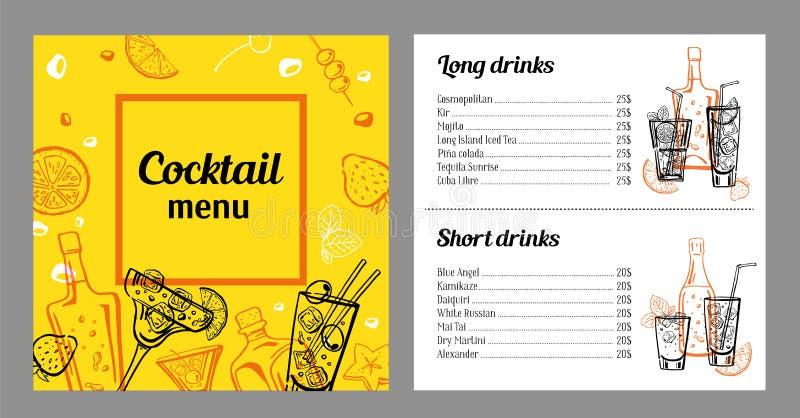 Modello di progettazione del menu del cocktail con la lista delle bevande Illustrazione disegnata a mano d'annata variopinta del  illustrazione di stock