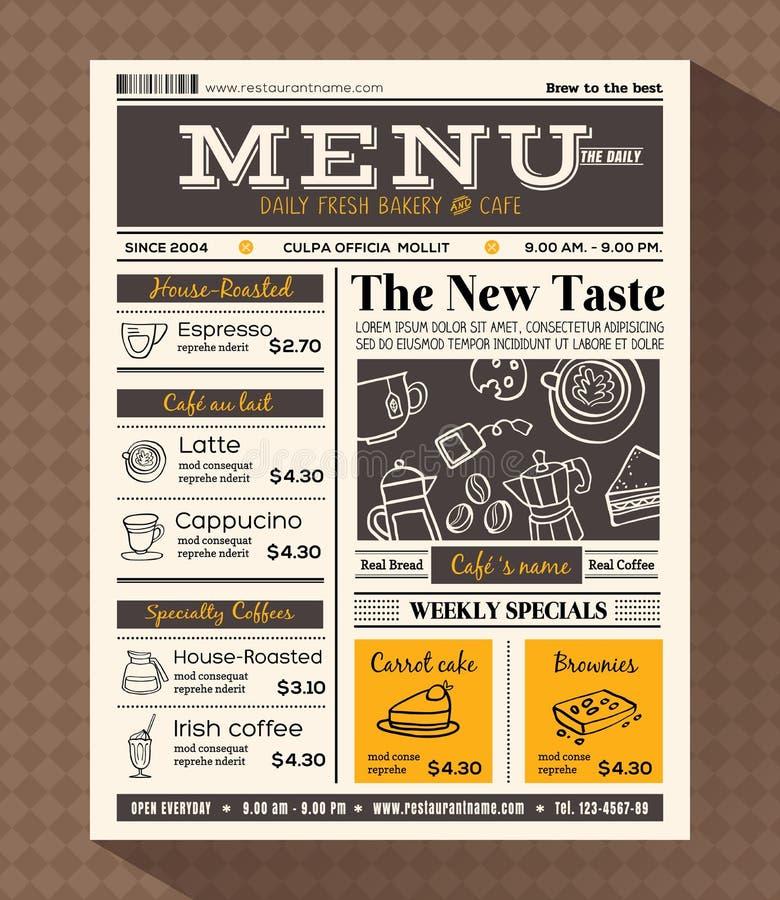 Modello di progettazione del menu del caffè del ristorante illustrazione vettoriale