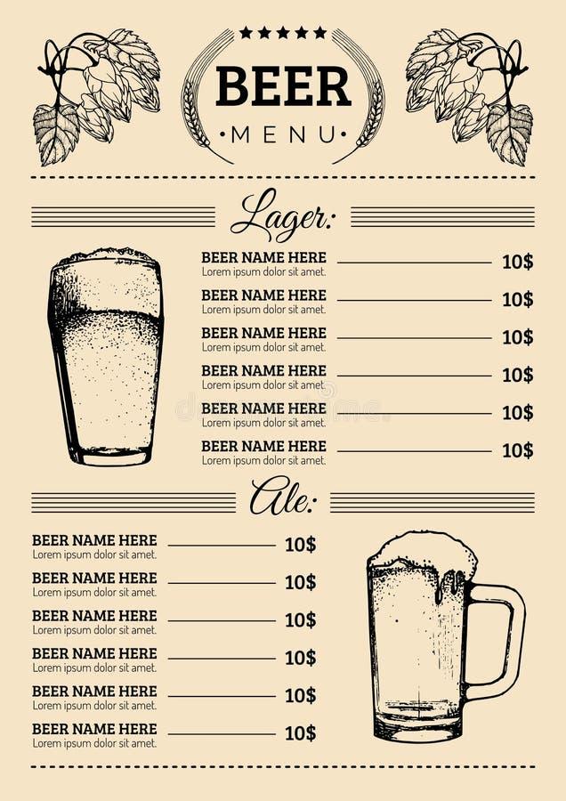 Modello di progettazione del menu della birra Vector il pub, carta del ristorante con lager schizzata mano, illustrazioni della b royalty illustrazione gratis