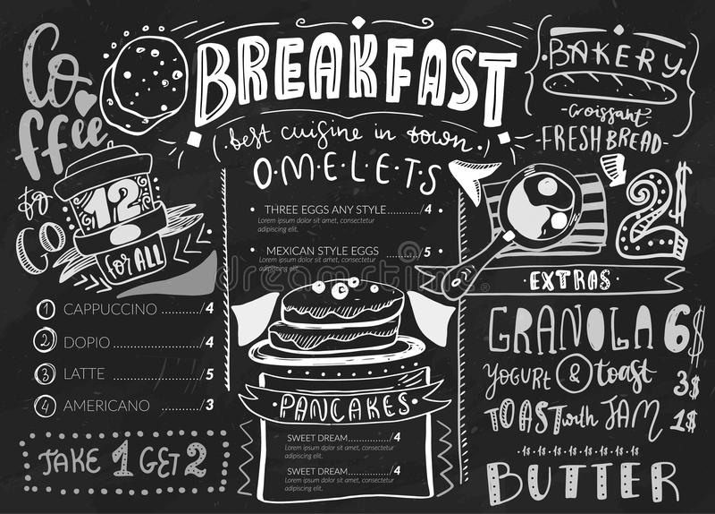Modello di progettazione del menu della prima colazione Iscrizione moderna con le icone di schizzo di alimento sul fondo della la illustrazione di stock