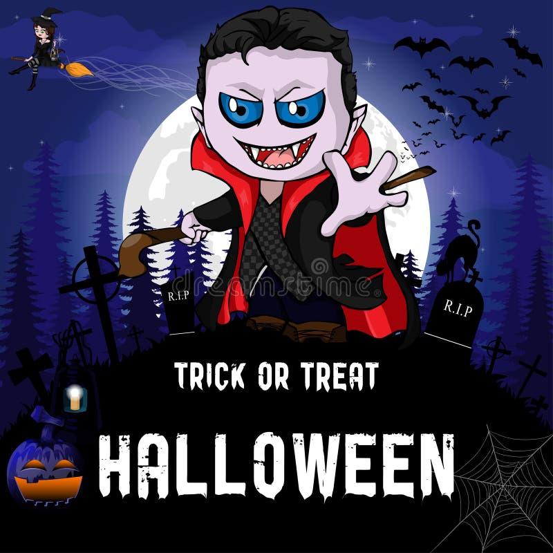 Modello di progettazione del partito di Halloween, con la strega, il vampiro, la zucca e la lampada illustrazione di stock