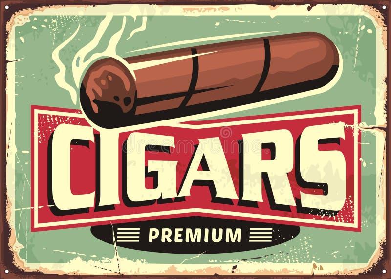 Modello di progettazione del segno del negozio dei sigari retro illustrazione di stock