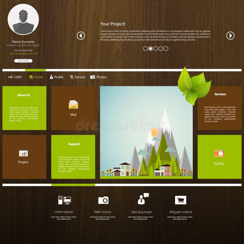 Modello di progettazione del sito Web con legno illustrazione vettoriale