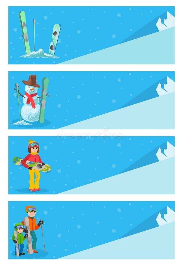 Modello di progettazione dell'aletta di filatoio degli sport invernali dello sciatore della montagna Snowboard e corsa con gli sc royalty illustrazione gratis