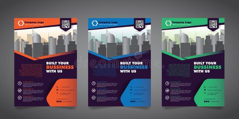 Modello di progettazione dell'aletta di filatoio di affari corporativi con 3 varie opzioni Illustrazione di vettore illustrazione vettoriale