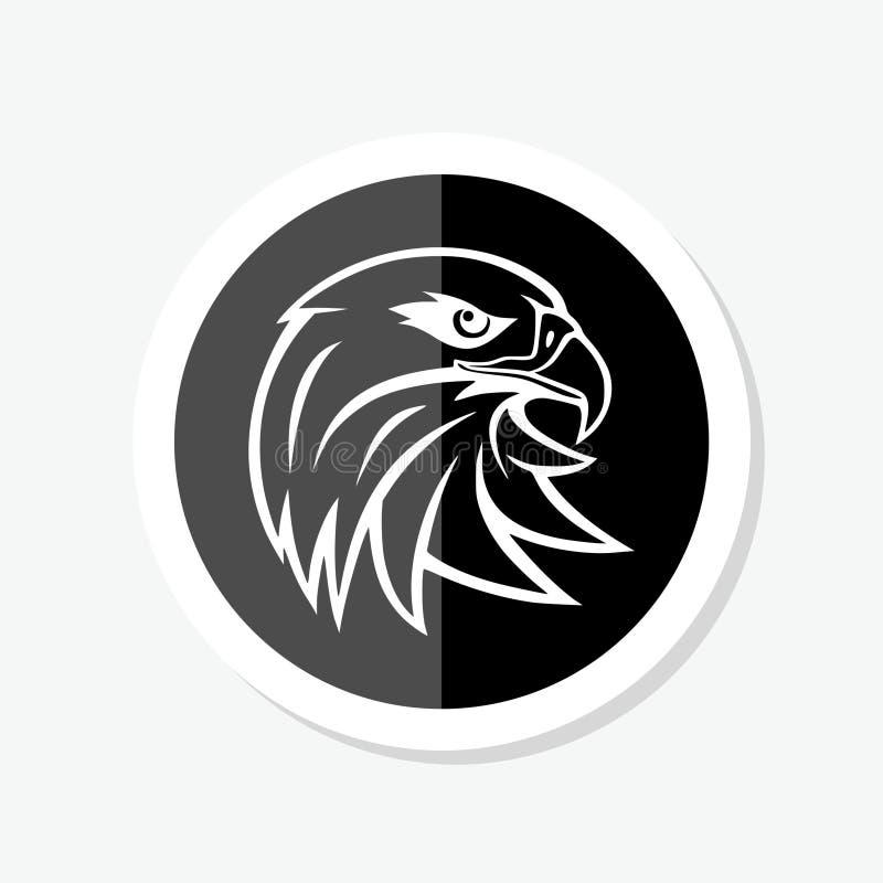 Modello di progettazione dell'autoadesivo del monogramma del cerchio della testa di Eagle Icona astratta nera illustrazione vettoriale