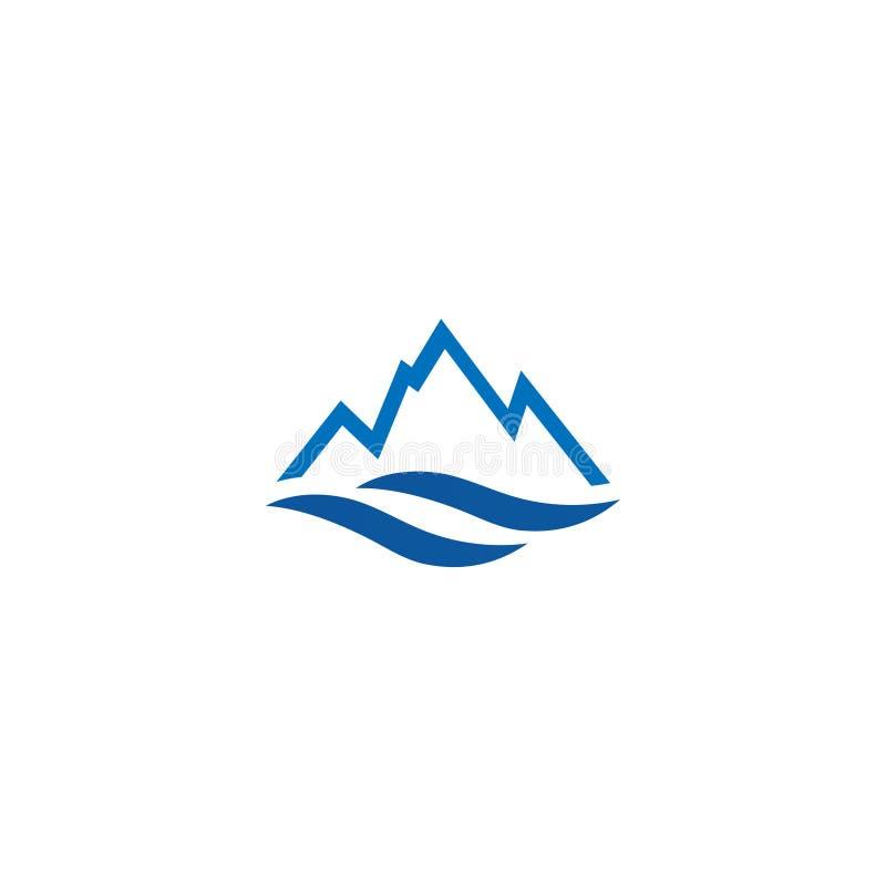 Modello di progettazione dell'icona di logo dell'acqua e della montagna royalty illustrazione gratis