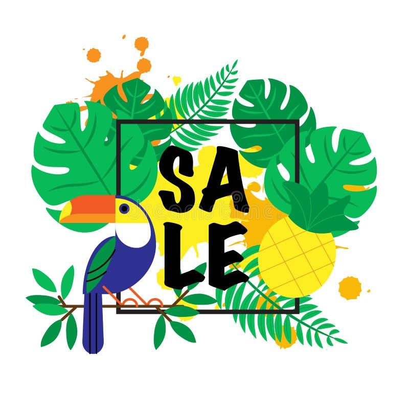 Modello di progettazione dell'insegna dell'illustrazione di vettore con le foglie di palma tropicali, piante, tucano e con le goc illustrazione di stock