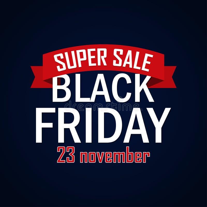 Modello di progettazione dell'iscrizione di vendita di Black Friday Insegna nera di venerdì Illustrazione di vettore royalty illustrazione gratis