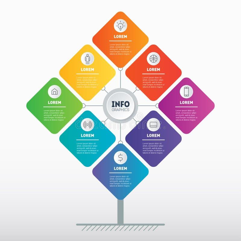 Modello di progettazione dell'opuscolo Concetto di presentazione di affari con 8 opzioni Modello Web dell'albero, del grafico di  illustrazione vettoriale