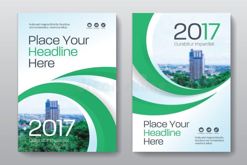 Modello di progettazione della copertina di libro di affari del fondo della città in A4 immagine stock libera da diritti