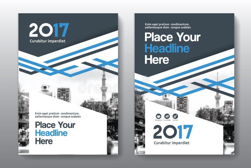 Modello di progettazione della copertina di libro di affari del fondo della città in A4 fotografie stock libere da diritti