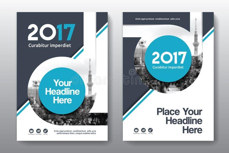 Modello di progettazione della copertina di libro di affari del fondo della città in A4 immagine stock