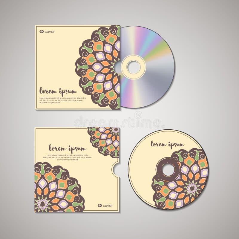 Modello di progettazione della copertura del CD con stile floreale della mandala illustrazione di stock