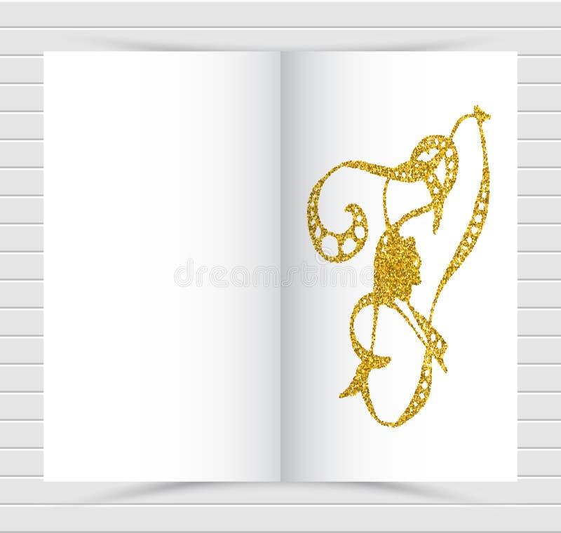 Modello di progettazione della copertura dell'oro Disposizione creativa del taccuino Fondo per il rapporto annuale corporativo, m royalty illustrazione gratis