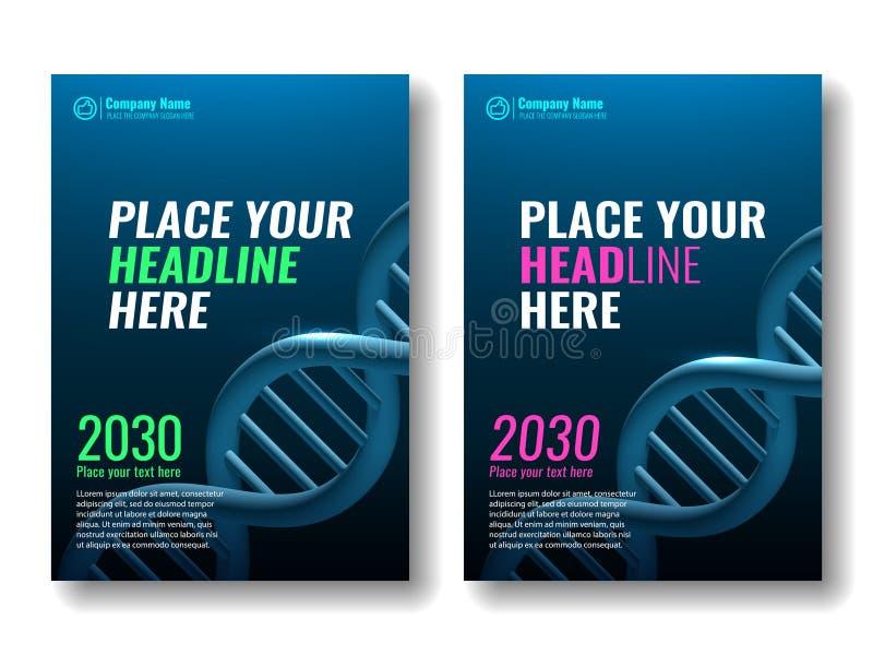 Modello di progettazione della copertura Spirale del DNA royalty illustrazione gratis