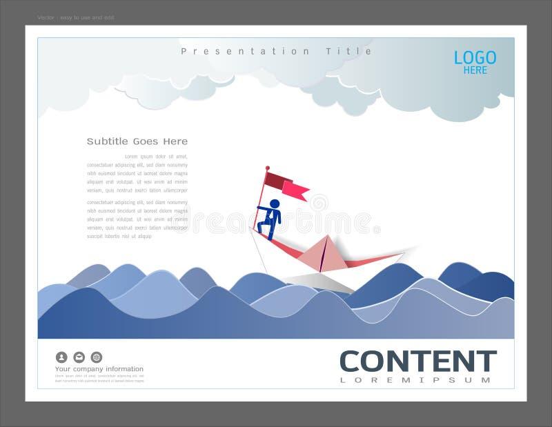 Modello di progettazione della disposizione di presentazione, uso nella direzione di affari e concetto di successo, uomo d'affari illustrazione di stock