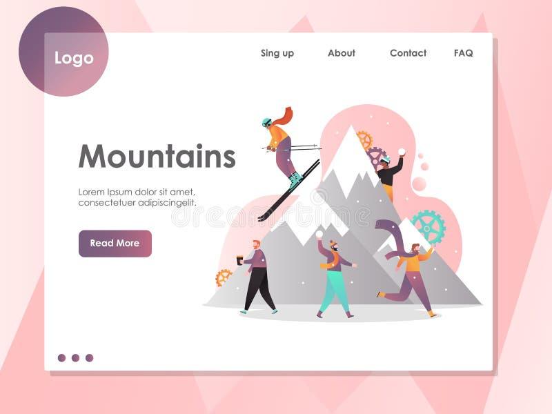 Modello di progettazione della pagina di atterraggio del sito Web di vettore delle montagne royalty illustrazione gratis