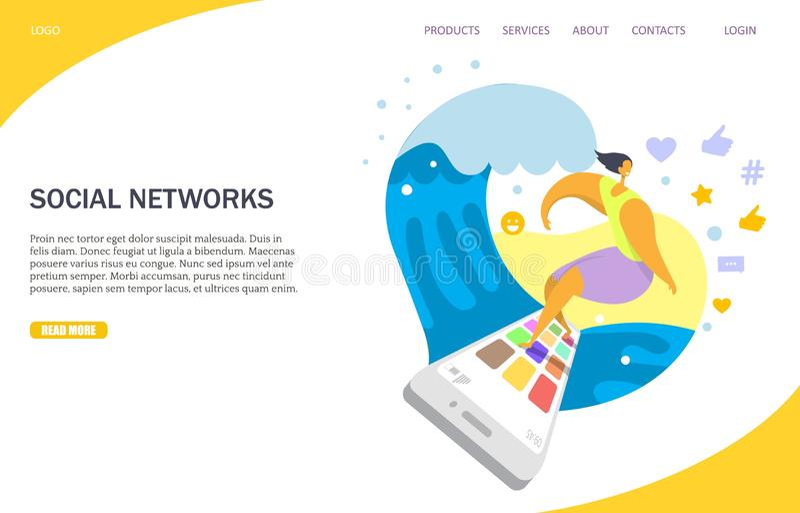Modello di progettazione della pagina di atterraggio del sito Web di vettore delle reti sociali illustrazione di stock