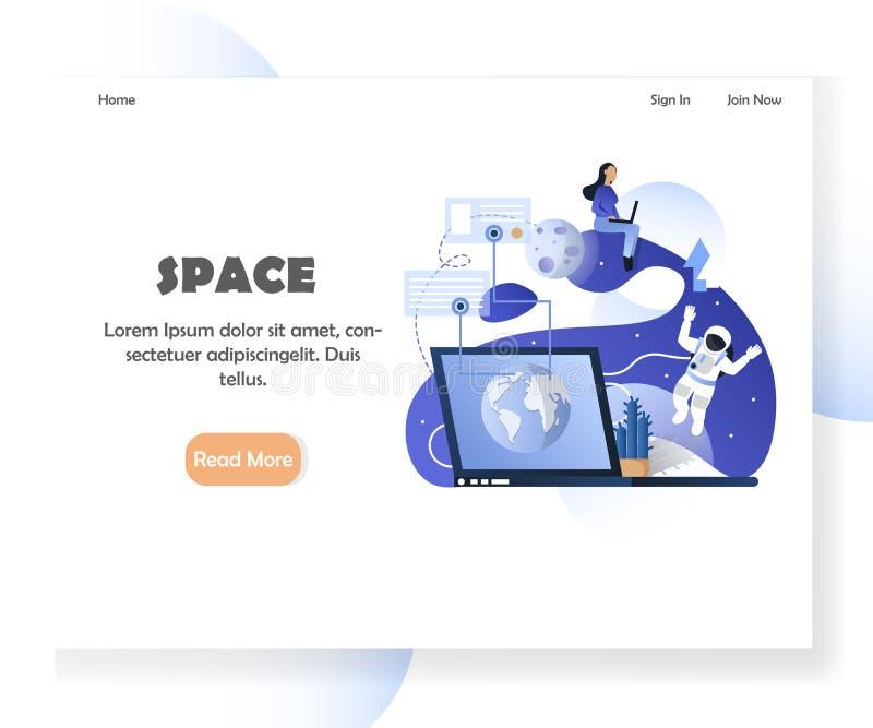 Modello di progettazione della pagina di atterraggio del sito Web di vettore di spazio illustrazione vettoriale