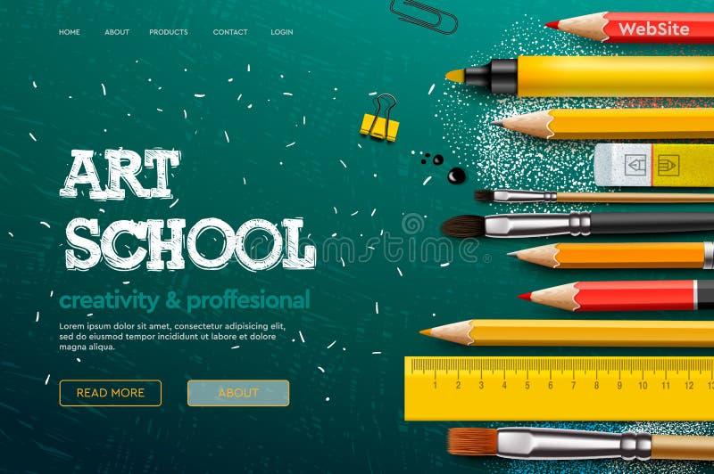 Modello di progettazione della pagina Web per Art School, studio, corso, classe, istruzione Concetto dell'illustrazione di vettor royalty illustrazione gratis