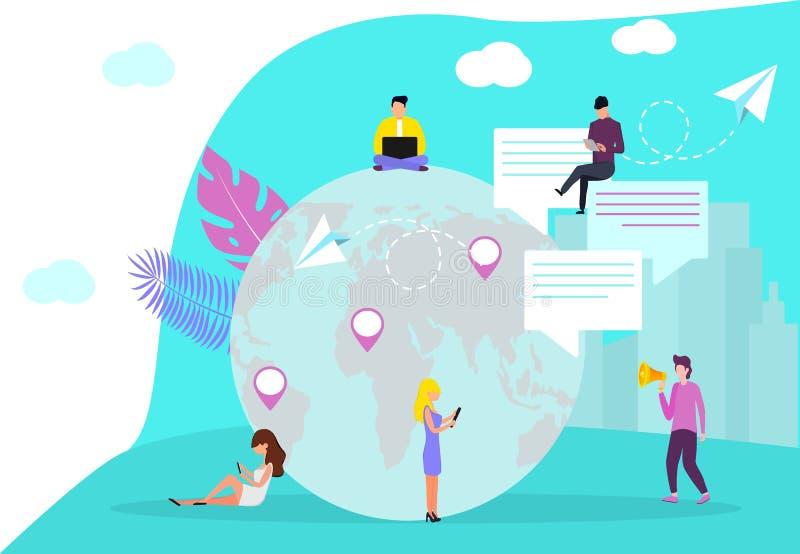 Modello di progettazione della pagina Web per i media sociali royalty illustrazione gratis