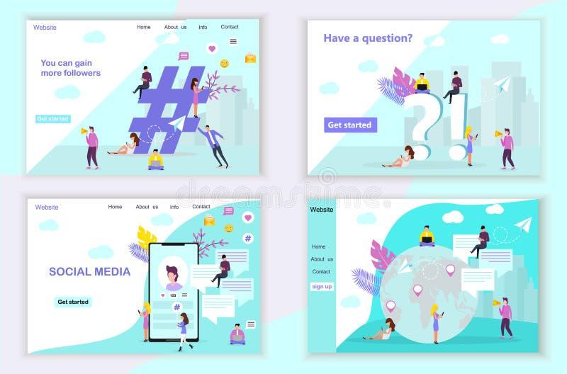 Modello di progettazione della pagina Web per i media sociali illustrazione di stock