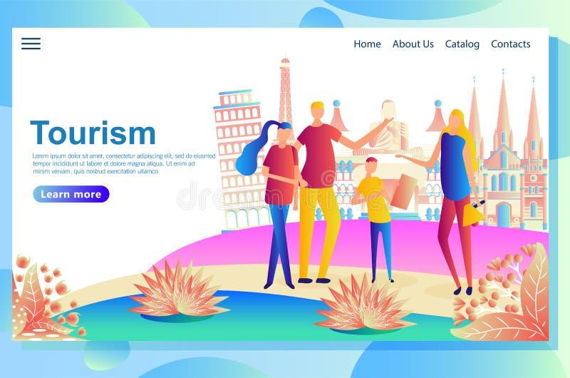Modello di progettazione della pagina Web per i viaggiatori che visitano i paesi differenti, cercante i posti di interesse illustrazione di stock