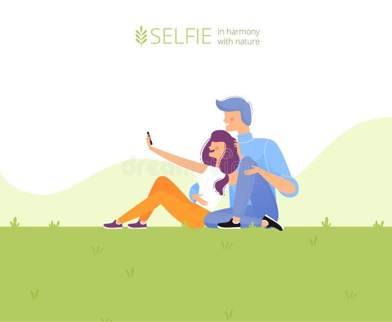 Modello di progettazione della pagina Web Una coppia prende un selfie sul prato inglese nel parco Selfie in accordo con la natura illustrazione di stock