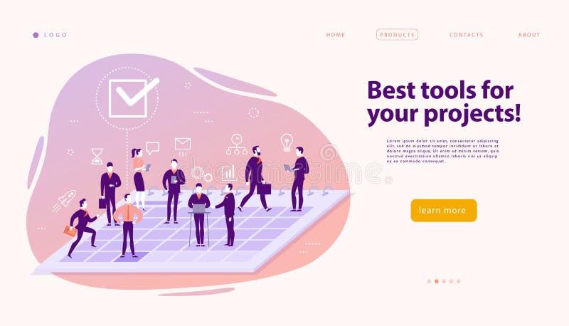 Modello di progettazione della pagina Web di vettore per le soluzioni di affari, il supporto di progetto & il consulto complessi, illustrazione di stock