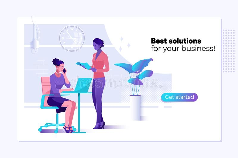 Modello di progettazione della pagina Web di vettore - soluzioni di affari, consultarsi, commercializzante, concetto di sostegno  illustrazione vettoriale