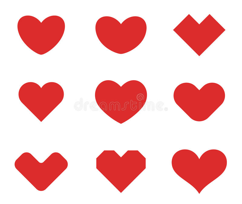 Modello di progettazione della raccolta di forme del cuore Giorno di S. Valentino della st di amore Icone mediche di concetto del royalty illustrazione gratis