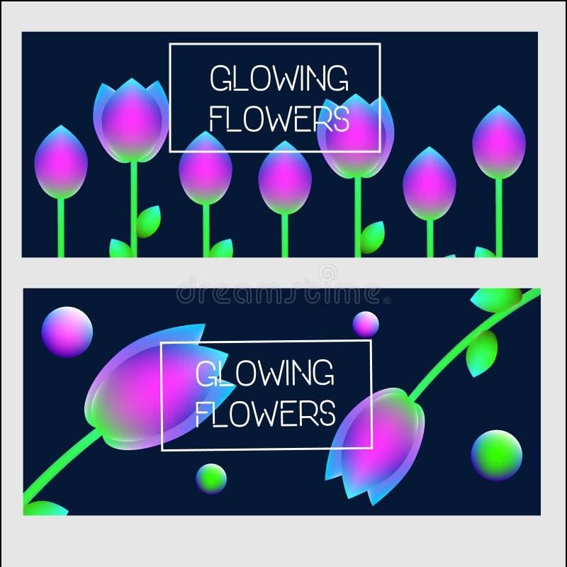 modello di progettazione delle insegne Insegne di vettore con i fiori olografici d'ardore del neon illustrazione vettoriale