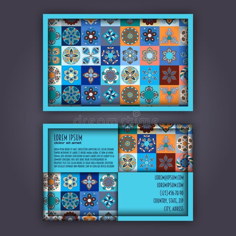 Modello di progettazione di biglietto da visita con il modello geometrico ornamentale della mandala Elementi decorativi dell'anna illustrazione di stock