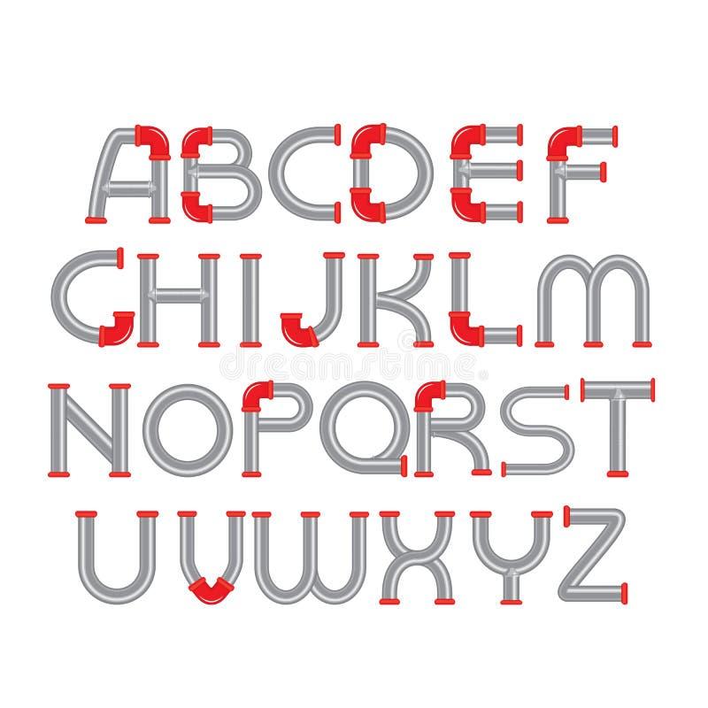 Modello di progettazione di carattere di alfabeto della tubatura dell'acqua royalty illustrazione gratis