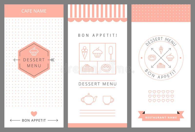 Modello di progettazione di carta del menu del dessert illustrazione vettoriale